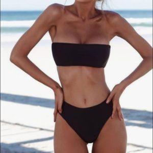 Other - ✿ RESTOCKED High Waisted Black Bandeau Bikini Set✿